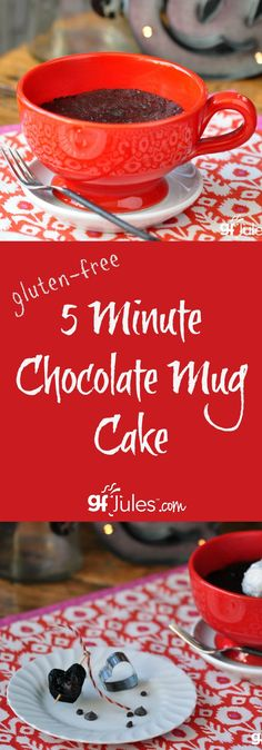 YES, you really can make a decadent and delicious chocolate cake in 5 minutes in your microwave! gfJules.com #glutenfree #dairyfree #vegan #chocolate #cake #mugcake