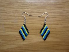 Pendientes rombo multicolor hama beads by Ursula
