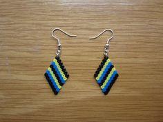 Pendientes rombo multicolor hama beads by Ursula