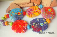 jasmin french ' siesta ' lampwork focal beads glass art
