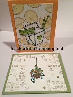 Create a background, Stamp a background, Hanging Garden, Fortunate to Know You, StampinUp Asian Cards, Hanging Gardens, Envelope Design, Fortune Cookie, Card Designs, Food Truck, Stampin Up Cards, Sushi, Card Ideas