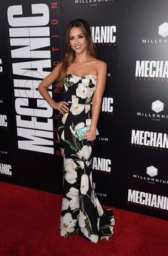 "Jessica Alba hits the ""Mechanic: Resurrection"" premiere in floral Dolce & Gabbana."