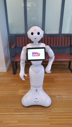 #SNCF : Avant de prendre le #train, nous avons fait connaissance avec un #robot cool #Pepper à la gare de #NortSurErdre en banlieue de #Nantes. Renversant :) #Voyager #malin