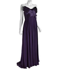 Notte by Marchesa : violet silk chiffon strapless sculpted bodice evening gown : style # 317694601