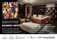 Fendi Casa + Romero Britto. The world-renowned pop artist created the collection of artwork for the exhibit  Britto/Magical Thinking Art Includes an array of sculptures, object art, Giclée canvas prints, and mixed media prints.