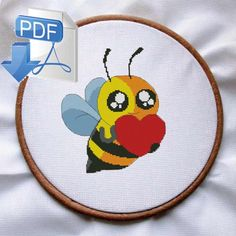 bee cross stitch pattern, Bee Heart cross stitch, valentines cross stitch, cross stitch pattern modern, nursery cross stitch, animal stitch