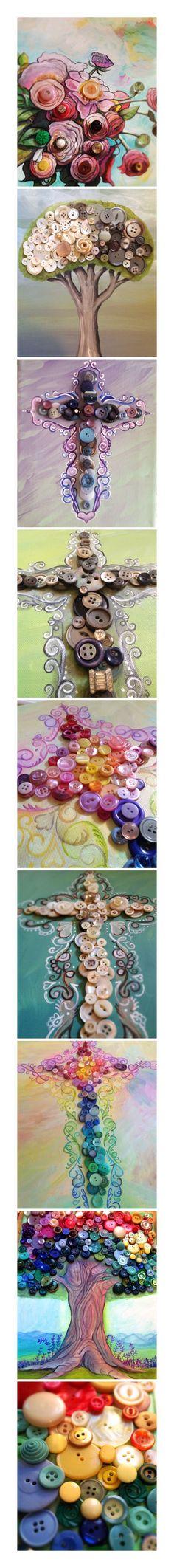 Grandma's vintage button collection in art - by Beth Snider/penelopeinmypocket.com