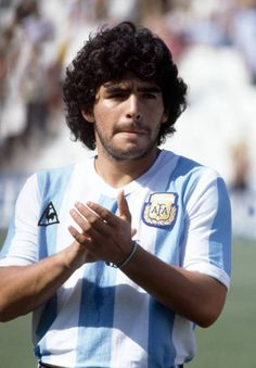 Diego Maradona of Argentina prior to the FIFA World Cup match between Argentina and Italy at the Estadio Sarria in Barcelona June 1982 Italy won. Football Images, Football Design, Messi, Spain Football, Diego Armando, World Cup Match, Fifa World Cup, Soccer Players, Fc Barcelona