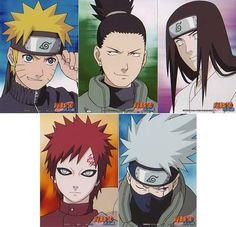 Naruto Uzimaki (16) Shikamaru Nara(16), Neji Hyuga(17), Gaara of the Sand(15?) and Kakashi Hatake (32?).