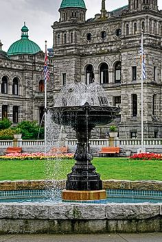 Brittish Columbia Parliam Buildings Fountain Victoria, BC | http://www.adagio-images.com/travel | http://www.facebook.com/adagioimages | #travelphotography © Bryan & Moira Pocock, Adágio Images