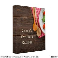 Favorite Recipes Personalized Wood Spoons Cookbook 3 Ring Binder Binder Inserts, Wood Spoon, 3 Ring Binders, Binder Design, Custom Binders, Spoons, Unique Weddings, Favorite Recipes, Lettering