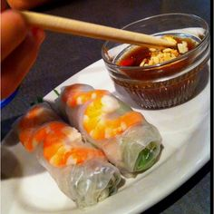 I LOVE spring rolls...and I could drink peanut sauce.