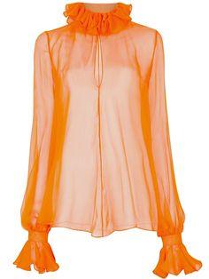 Alexander McQueen ruffle collar sheer blouse