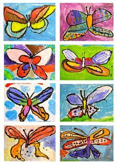 Kinder butterflies lesson, puck tempera paints