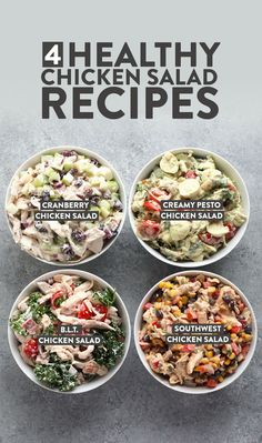 4 Healthy Chicken Salad Recipes (made with yogurt!) - Fit Foodie Finds We're cooking up 4 delicious healthy chicken salad recipes, which are all made from a yogurt base and are excellent for meal prep. From sout Pesto Chicken Salads, Chicken Salad Recipes, Seafood Recipes, Chicken Salad Healthy, Greek Yogurt Chicken Salad, Dinner Recipes, Dessert Recipes, Cranberry Chicken, Healthy Recipes