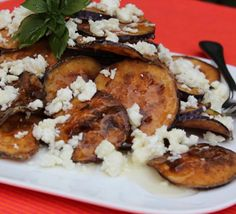 Eggplant Chips with Feta and Honey...This is a treasured Spanish Tapa that has been given to me by our dear friend David Carreras....   Hadia's Lebanese Cuisine