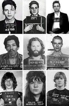 Mug shots of Frank Sinatra Elvis Presley Johnny Cash Jimi Hendrix Jim Morrison David Bowie Mick Jagger Janis Joplin and Kurt Cobain. Janis Joplin, Rock Roll, Rock N, The Rock, David Bowie Mick Jagger, Elvis Presley, Franck Sinatra, Jimi Hendricks, Johnny Cash