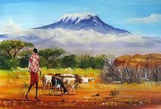 Oil Paintings of 4 Spectacular Mt Kilimanjaro Mountain Art for sale by Artists African Artwork, African Art Paintings, African Prints, Art Painting Images, Artist Painting, Knife Painting, Landscape Art, Landscape Paintings, Oil Paintings