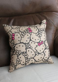 Hello Kitty Burlap Print Pillow with Black Suede Cloth Back with or with Pink Sequin Bow