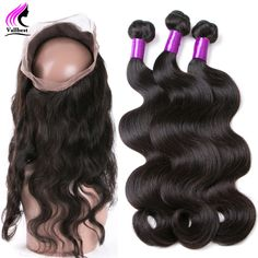360 Lace Frontal With Bundle Brazilian Virgin Hair Body Wave With Frontal Closure 360 Frontal With 3 Bundles With Lace Closure
