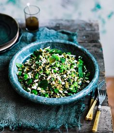 Recipe for farro with broad beans, ricotta salata, mint and lovage by Danielle Alvarez.