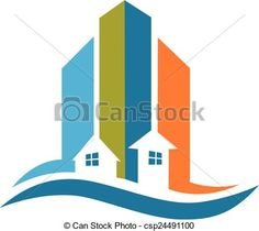 Vector -  Modern buildings real estate logo - stock illustration, royalty free illustrations, stock clip art icon, stock clipart icons, logo, line art, EPS picture, pictures, graphic, graphics, drawing, drawings, vector image, artwork, EPS vector art