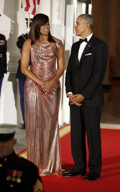 President Barack Obama and first lady Michelle Obama wait to greet Italian Prime Minister Matteo Renzi and his wife Agnese Landini on the North Portico for a State Dinner at the White House in Washington, Tuesday, Oct. 18, 2016. (AP Photo/Pablo Martinez Monsivais) via @AOL_Lifestyle Read more: http://www.aol.com/article/news/2016/10/20/watch-live-michelle-obama-stumps-hillary-clinton-arizona/21588443/?a_dgi=aolshare_pinterest#fullscreen