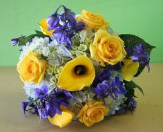 Blue, white, and yellow wedding flower bouquets for Manayunk Brewery in Philadelphia | Philadelphia wedding flowers