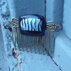Fused Glass Hair Comb Hair Accessories Zebra by FancyThatFusion