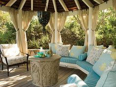 22 Porch, Gazebo and Backyard Patio Ideas Creating Beautiful Outdoor Rooms in Summer Outdoor Curtains, Outdoor Rooms, Outdoor Living, Outdoor Furniture Sets, Outdoor Decor, Gazebo Curtains, Rooms Furniture, Outdoor Couch, Couch Furniture