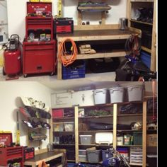 Kendal's garage shelves and work bench