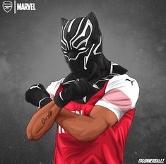 Aubamuyang X black panther Arsenal Fc Players, Aubameyang Arsenal, Black Panther Art, Black Art, Football Art, Football Wallpaper, Cristiano Ronaldo, Fifa, Marvel Universe