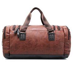 big Capacity Waterproof PU leather casual men travel bags Large luggage bag fashion men Travel Bag - Black brown
