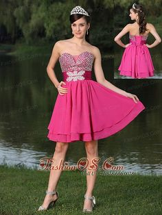 beading sweetheart strapless Hot Pink For Prom / Cocktail Party Dress LFY091703   | 2013 chiffon prom gown | 2013 2014 prom cocktail dress || cocktails dress for juniors | cocktail dress for celebrity for juniors |