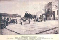 Praça Sacadura Cabral, Mogi das Cruzes - SP. Década de 30, futuro túnel da passagem sob linha férrea