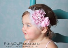 Items similar to Dusty Pink Rosette on an Natural Super Skinny Headband. Infants, Toddlers, Teens and Adults. Perfect for Photography Props. on Etsy