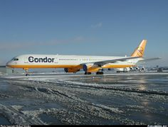 Condor Boeing 757-330 D-ABOK has it's engines, pitot and static ports covered up against the elements on a clear Winter's day at Stuttgart-Echterdingen, December 2001. (Photo: Michael Watzke)