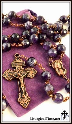 Genuine Stone Rosary ~ Handmade ~ Amethyst Rosary with faceted beads ~ Copper Tone - RSY10
