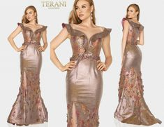 TERANI COUTURE 2011M2129 authentic dress. Newest COLLECTION ! Lowest price   eBay Off Shoulder Gown, Terani Couture, Bride Gowns, Overall Dress, Couture Collection, Women Brands, Couture Fashion, New Dress, Formal Dresses