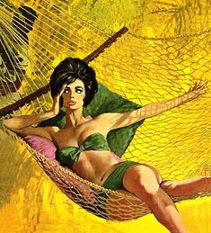 Illustration by Robert McGinnis. Lounging in the hammock. Lazy summer day.