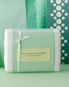Typewritten Gift Tags and Paper Saver - Wrap gifts with tissue paper then band with a decorative paper with ribbon.
