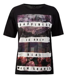Black Happiness Is Boyfriend T-Shirt  | New Look