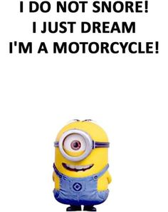 I do not snore!  I just dream I'm a motorcycle! - minion