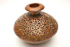 Rust Finish Round Modern Vase @flea_pop