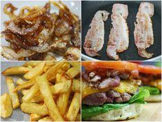 burger's best friends: french fries, crispy bacon and caramelised onions Caramelised Onions, French Fries, Hamburger, Bacon, Chicken, Meat, Friends, Food, Gourmet