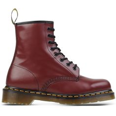 Dr. Martens Ankle Boots ($210) ❤ liked on Polyvore featuring shoes, boots, ankle booties, maroon, leather ankle booties, maroon boots, round cap, round toe booties and leather boots