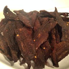 My homemade beef jerky recipe is way healthier & cheaper than the packaged stuff, & it's easy to make! All you need to do is put your oven on a low setting! Grilling Recipes, Beef Recipes, Smoker Recipes, Appetizer Recipes, Snack Recipes, Snacks, Easy Recipes, Appetizers, Healthy Recipes