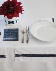 Crisp and clean striped table setting