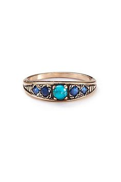 Turquoise and Sapphire Band in 14k Rose Gold #anthropologie