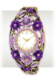 Ornate Ladies Watch with Light & Dark Purple Flowers around the face.